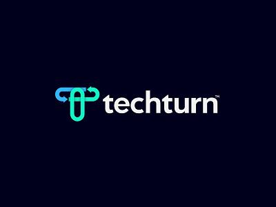 Techturn logo | for Technology software Development platform logo design network software application computer connection t logo technology tech statistics analytics data ui custom logo icon latter logo logo mark branding logo