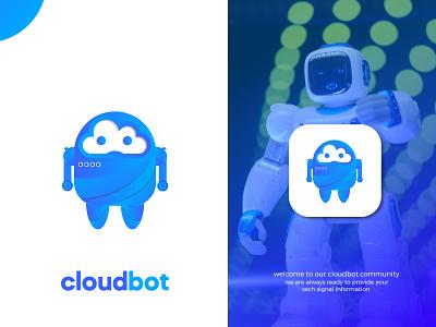 cloud + robot, symbol logo logo design bot electronic modern technology innovative tech logo identity symbol robot cloud ux ui illustration design icon app design custom logo logo mark branding logo