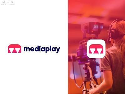 mediaplay logo design (m + play icon) logo design flat play logo video logo symbol m logo play icon media player ui illustration design app design latter logo icon custom logo logo mark branding logo media kit