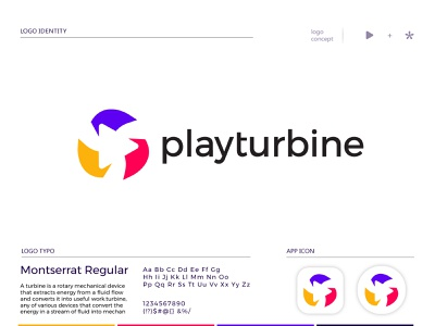 playturbine logo design aircraft blades motor engine business logo fintech mechanical logo tech technical digital data blockchain startup logo ui illustration app design custom logo logo mark branding logo