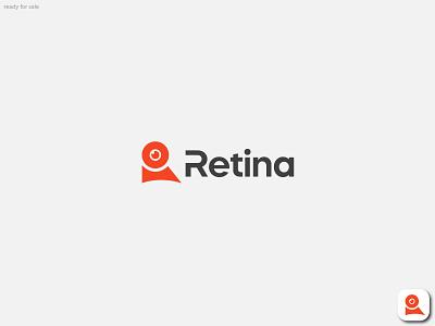 Retina logo   R + EYE combination lettermark monogram typography logo design identity symbol r logo logotype mark icon illustration ui custom logo logo mark branding logo eye medical logo retina