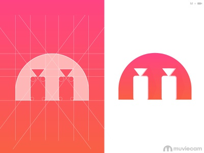 muviecam logo, m lettermark logotype identity typography flim play photography logo m logo logo design symbol video camera muvie ui illustration latter logo icon custom logo logo mark branding logo