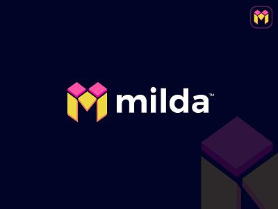 Milda logo m logo logotype logodesign logos mark brand monogram vector minimal symbol 3d logo illustration design identity latter logo custom logo icon logo mark branding logo