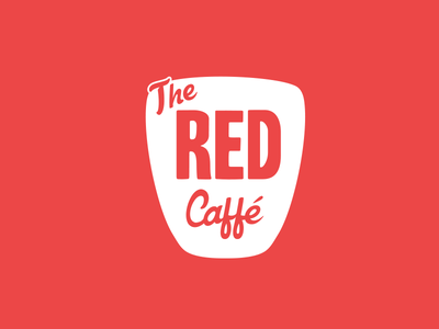 Red Cafe Logo flat creative simple font type white red branding logo cafe