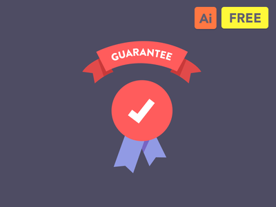 Guarantee Freebie Flat Icon badge done download illustration icon flat ribbon mark check freebie free guarantee