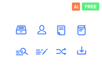 Line Icons Freebie (Search, People, Book, Download)