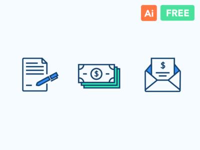 Line Icons Freebie (Contract,Money,Receipt)