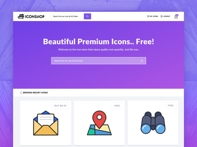 Icon Shop Homepage  freebies ux ui design vectors home page landing website icons free