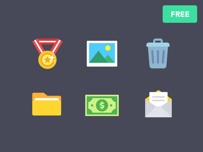 Free Flat Icons flat freebie icon mail dollar money file folder trash photo image medal