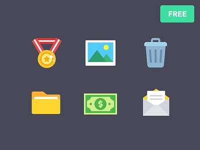 Free Flat Icons flat freebie icon mail dollar money file folder trash photo image medal