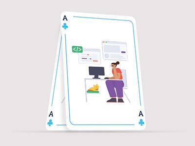Playing Card Illustration animation illustrator branding design app vector website ux illustration graphic design