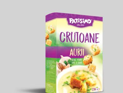 4B Packaging crutoane Aurii typography vector logo branding design illustration
