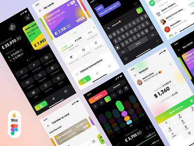 Banking App UI Research - Free Figma minimal figma freebie free banking ux design ui design stats design payment credit cards wallet finance fintech app mobile ux ui