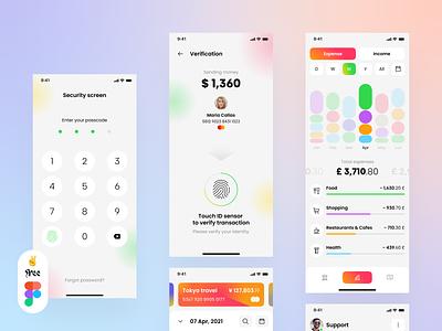 Banking App UI Light #1 - Free Figma ui ux mobile app fintech finance wallet credit cards payment design stats ui design ux design banking figma freebie free minimal