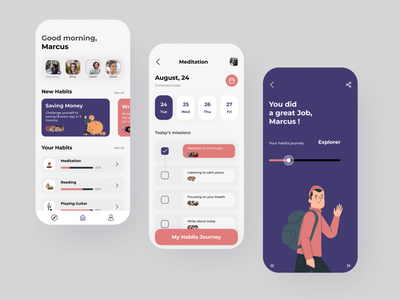 Habit Mobile App ui design mobile ui mobile app design design mobile app graphic design ux ui
