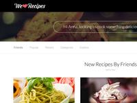 User Dashboard web UI design - WeLoveRecipes