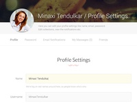 Profile Settings Page - WeLoveRecipes web UI design project