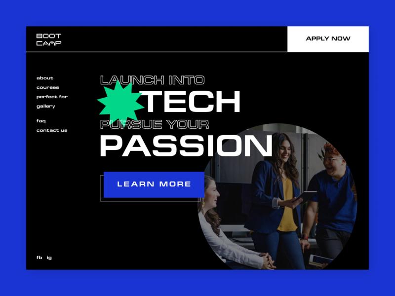 Boot Camp web design web layout concept design illustration technology design technology colors