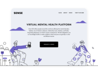 Sense Website characters clean ui visual ui illustrations minimalist service page clean website therapists website design