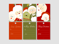 Cute Merry Christmas greeting cards