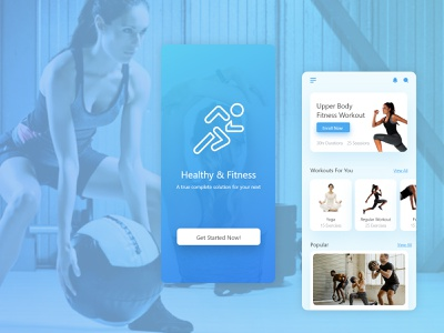 Healthy & Fitness yoga app fitenss app healthy app ui ux design app design app