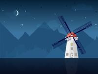 Desktop Wallpaper - Windmill at Twilight