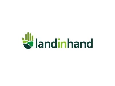Land In Hand Logo Concept farm green logo hand land