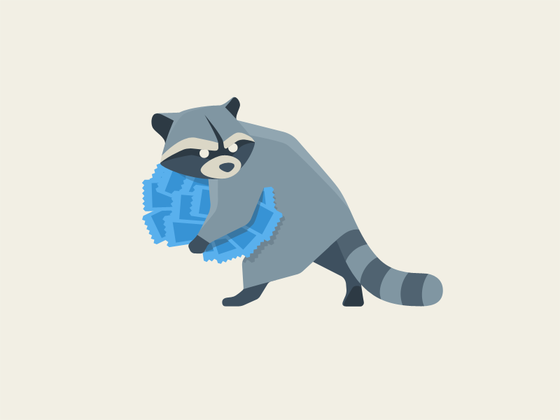 raccoon raccoon thief stole tickets illustration search dog hound