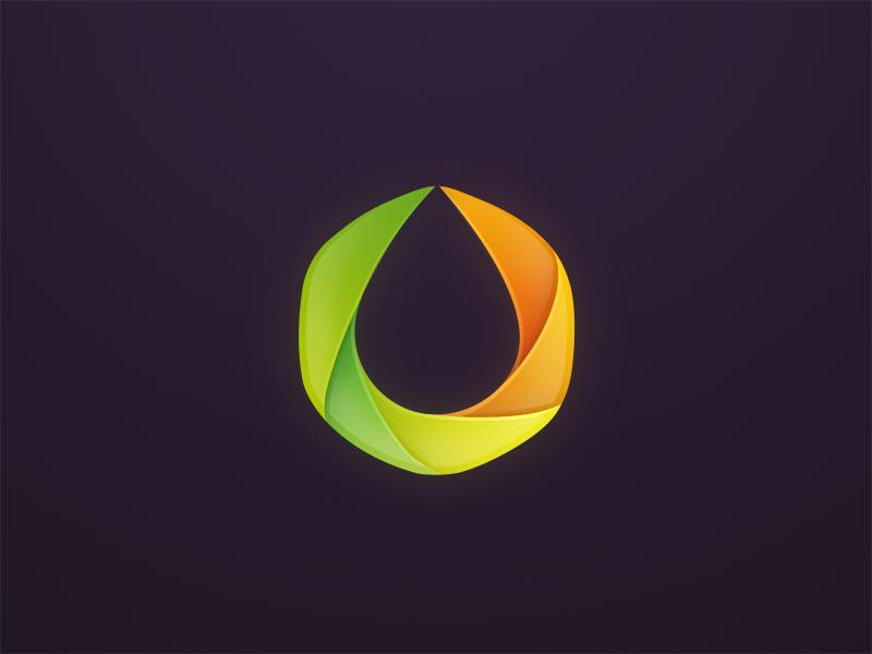 Oil logo polygon colors drop oil