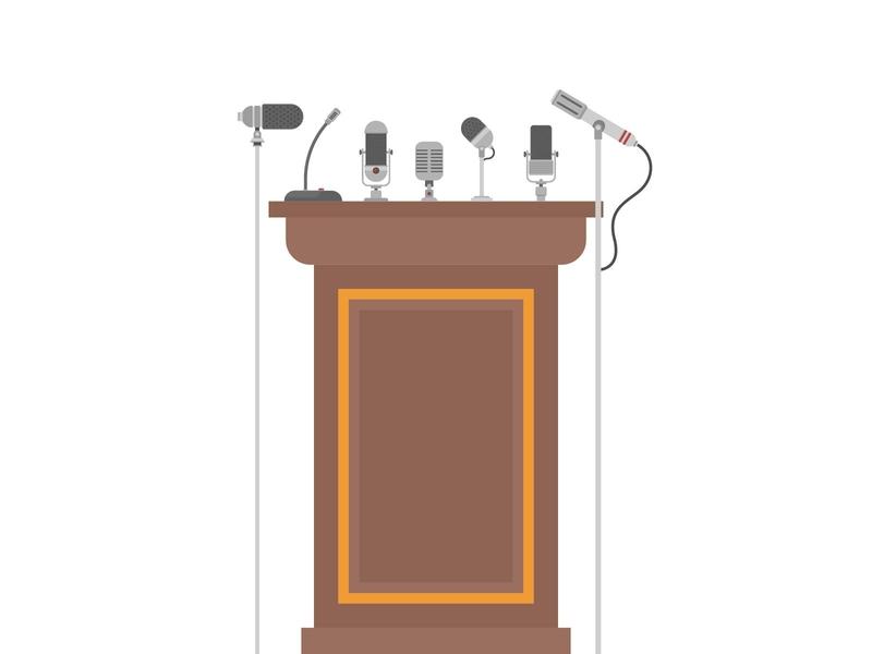PODIUM TRIBUNE FOR SPEAKERS WITH MICROPHONES politic microphones tribunal media speak news flat leader cartoon platform speech wooden microphone pulpit stage rostrum tribune podium vector
