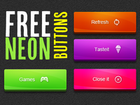 Free Neon Button PSD