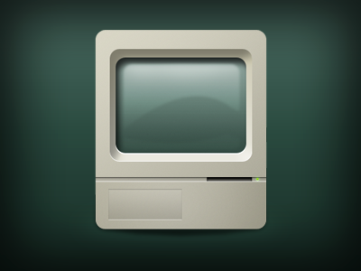 Old Computer iCon illustration old computer vintage retro glass glossy light