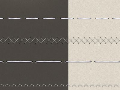 Realistic Stitches PSD out clean stitch stitches thread rope fabric elements dividers spiral 3d shadow realistic hole gap leather metal white grey texture corner