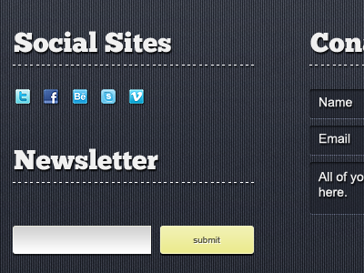 Footer By Graphcoder 2 social footer web design noise button newsletter