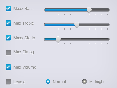 Sliders & Radio buttons for Dell Sound Setting knob slider buttons check clean ui dell hover click box