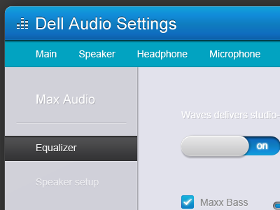 Dell Audio Settings ui audio sleek clean ui user interface blue button switch on app