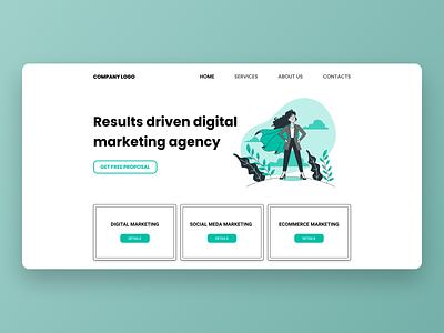 Marketing Agency | Landing Page Design green agency marketing uiux design ux design landing page web design landing page design ui
