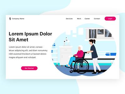 Palliative Care. Landing page illustration project web design banner flat landing page design brand design illustration vector flat illustration