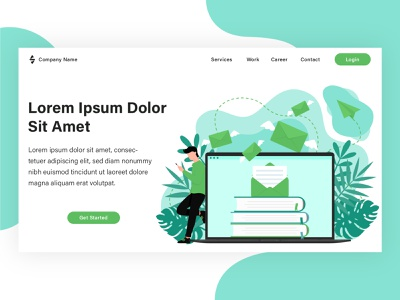Landing page illustration project from my client. web design banner flat landing page graphic design illustration flat illustration design vector