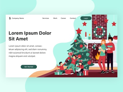 Christmas landing page project flat vector illustration vector banner landing page graphic design web design illustration flat illustration design