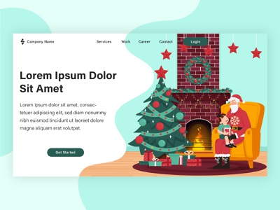 Christmas landing page project flat vector graphic design landing page banner web design illustration flat illustration design