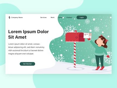 Christmas landing page project web banner poster web template flat design vector illustration flat vector graphic design landing page banner web design illustration flat illustration design