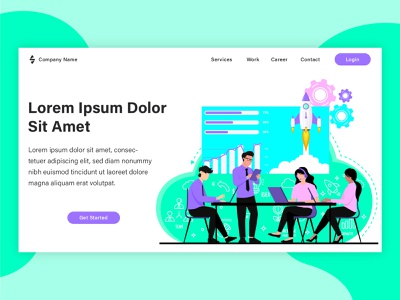 Startup landing page project flat design web template poster web banner flat vector graphic design landing page banner web design illustration flat illustration design