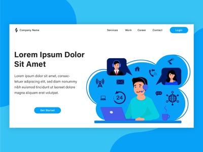 Customer support landing page project poster web banner graphic design vector landing page banner web design illustration flat illustration design