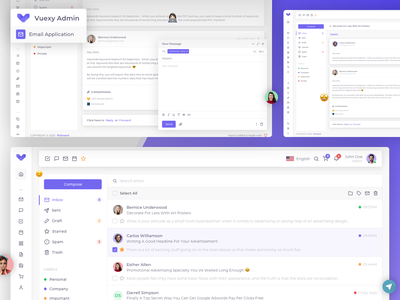 Vuejs, React, HTML & Laravel Admin Template 😍 email app pages widget application analytics e-commerce crm atomic figma sketch uikit admin template admin panel dashboard admin