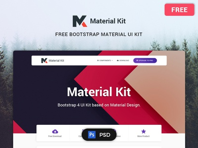 MATERIAL KIT – FREE MATERIAL DESIGN UI KIT PSD elements components modern bootstrap psd kit ui design material free