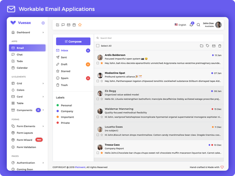 Vuesax Vuejs - Workable Email Application by Anand on Dribbble