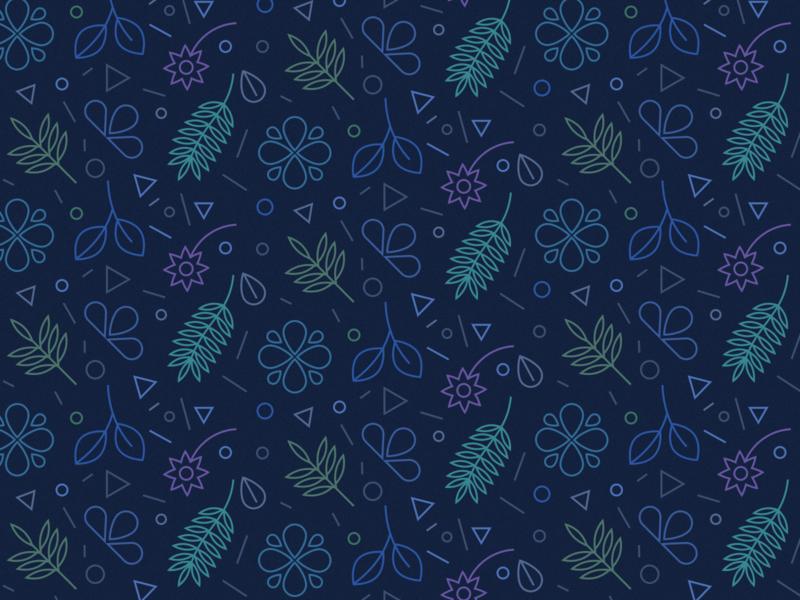 Daily Pattern - 11 24 19 figma tiles dark blue pink purple teal pattern foilage plant plants line art dark blue leaves leaf