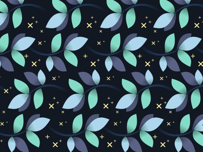 Daily Pattern - 12 04 19 vine leaves plus blue teal flower pattern tile pattern flower