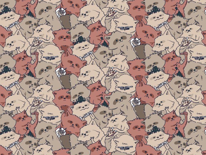 Daily Pattern - 12 09 19 cartoon tile illustration tile pattern trash panda raccoon